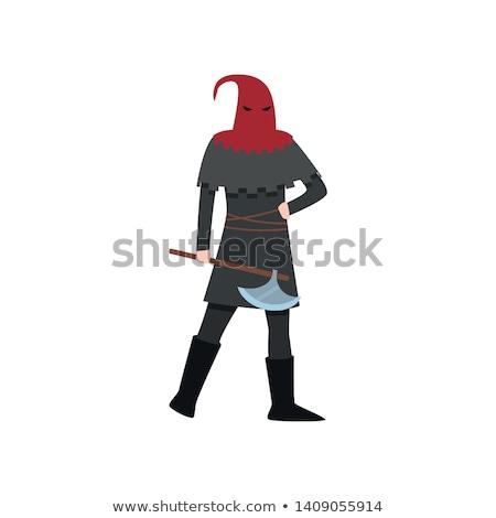 Vermelho traje machado branco crânio diversão Foto stock © Elnur