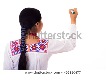 woman wearing red blouse and white shorts while looking away  Stock photo © feedough