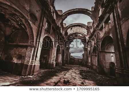homlokzat · öreg · elpusztított · ház · törött · ablakok - stock fotó © pedrosala