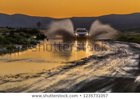 4x4 rivier schemering groot splash zonsopgang Stockfoto © klikk