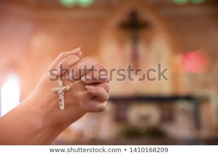 человека · мышления · молиться · изолированный · серый · стены - Сток-фото © deandrobot