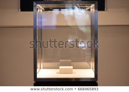 空っぽ ガラス ショーケース 広告 孤立した 3dのレンダリング ストックフォト © cherezoff
