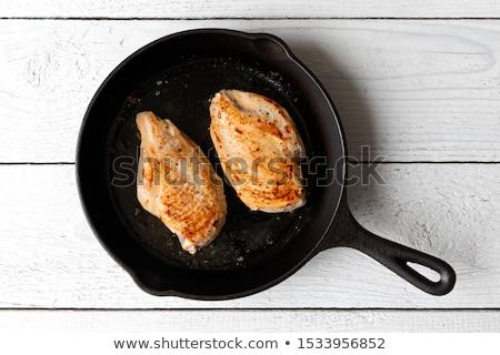Stock fotó: Csirkemell · stúdiófelvétel · tyúk · hús · fehér · háttér · petrezselyem
