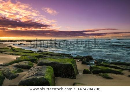 beautiful sunset over the coastal rocks Stock photo © morrbyte