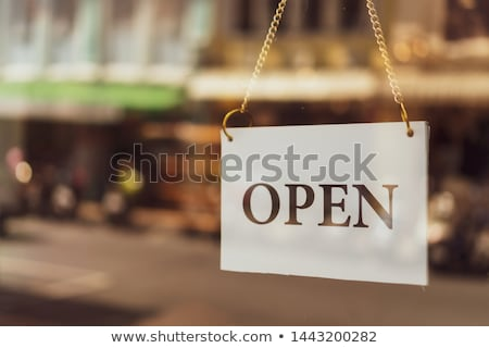 an open sign at the shop door stock photo © magann