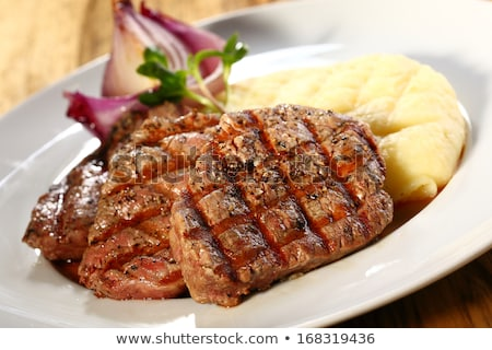 beef steak meal with mashed potato and gravy sauce Stock photo © travelphotography
