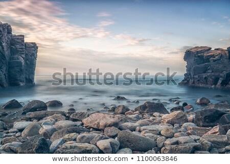 Foto stock: Puesta · de · sol · playa · California · EUA · nubes