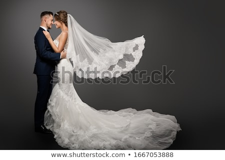 casamento · retrato · belo · feliz · noiva · longo - foto stock © deandrobot