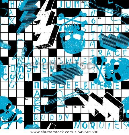 クロスワード パズル 頭蓋骨 雷 少年 印刷 ストックフォト © adamfaheydesigns