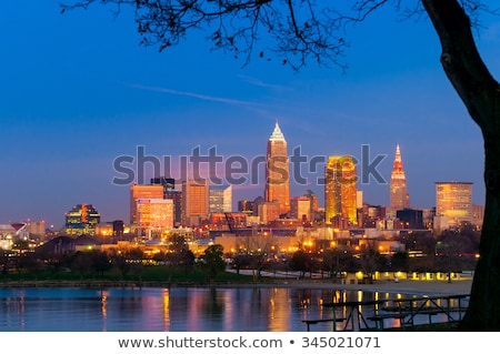 Golden sunset light on Cleveland buildings Stock photo © benkrut