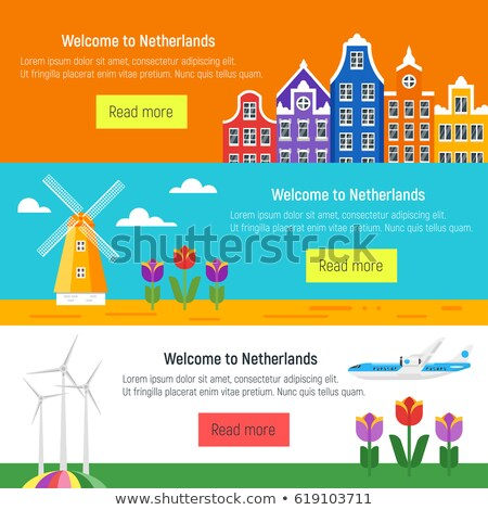 Vector flat style set of Welcome to Netherlands template for web Stock photo © curiosity
