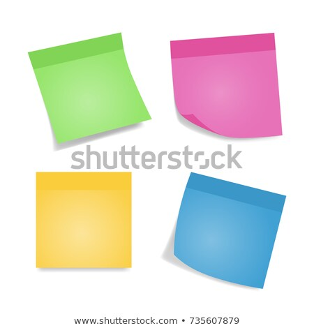 Paper Work Notes Isolated Vector. Set Of Color Sheets Of Note Papers. Four Bright Sticky Notes. Stock photo © pikepicture