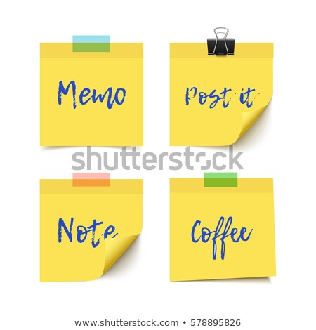 paper work notes isolated vector realistic yellow paper sticker on white background with soft shado stock photo © pikepicture
