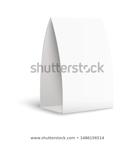 White Paper Stand Table Tag Flyer Vector Stationery Brochure. Paper Vertical Cards On White Backgrou Stock photo © pikepicture