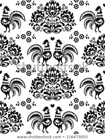 polish folk vector pattern with roosters   floral design wzory lowickie wycinanka on black stock photo © redkoala