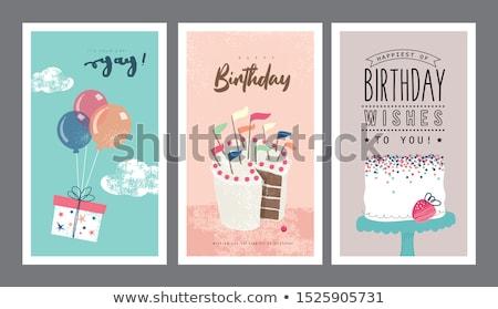 поздравление · цветы · рождения · объявление · карт - Сток-фото © olena