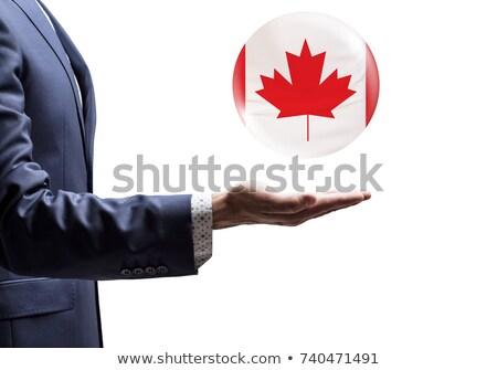 Kaukasisch reiziger tonen palm hand Stockfoto © RAStudio