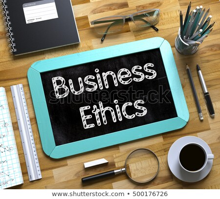 Small Chalkboard with Business Ethics Concept. 3D. Stock photo © tashatuvango