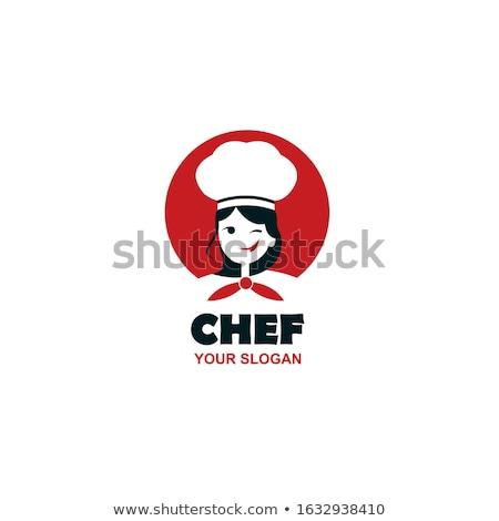 Chef gezicht logo kok cap symbool Stockfoto © popaukropa