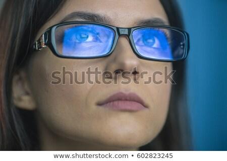 Portre kız göz mavi ışık dramatik Stok fotoğraf © fotoduki