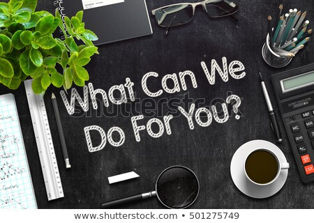 Stock photo: Black Chalkboard with What Can We Do For You. 3D Rendering.