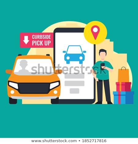 Vehículo seguro Cartoon amarillo texto negocios Foto stock © tashatuvango