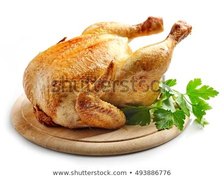 全体 鶏 まな板 ハーブ 食品 ストックフォト © Virgin