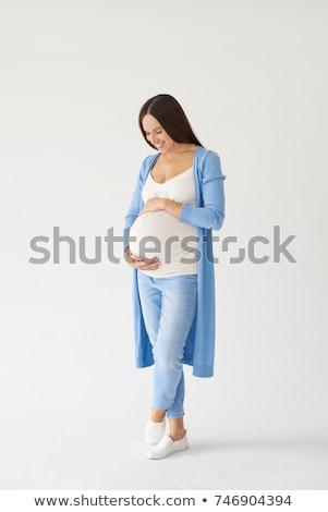 mujer · embarazada · pie · aislado · Foto · asombroso · feliz - foto stock © deandrobot