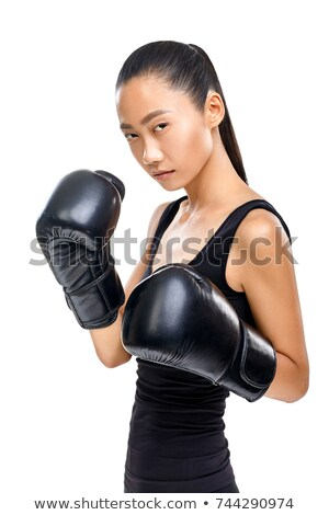 Stock photo: female boxer with instructor gym