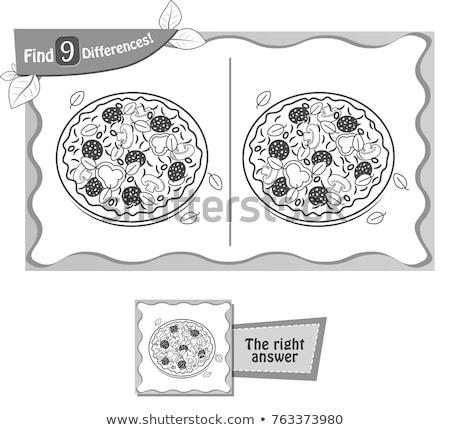Trovare differenze gioco pizza nero bambini Foto d'archivio © Olena