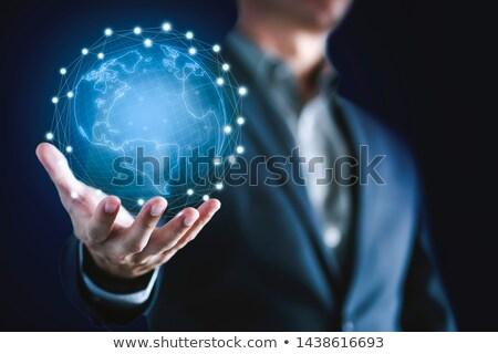 dünya · el · görüntü · iş · Internet · işadamı - stok fotoğraf © rufous