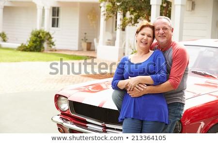 Idős pár átkarol sportautó férfi jókedv szabadság Stock fotó © IS2