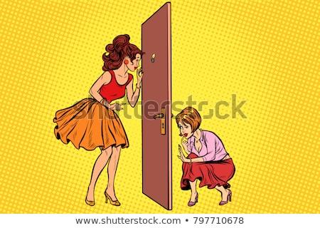 Duas mulheres espião outro porta retro Foto stock © studiostoks