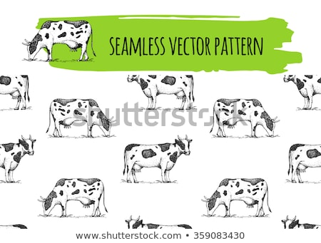 cow seamless pattern background of animals herd of cows farm stock photo © popaukropa