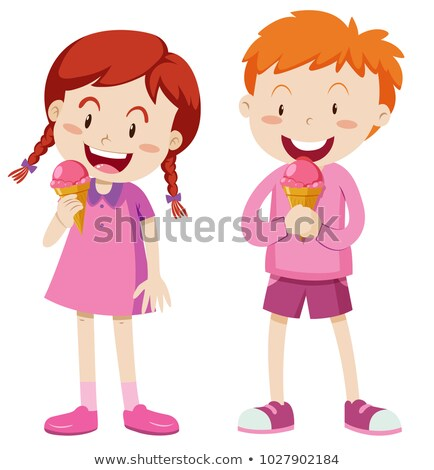 Boy and girl in pink outfit with icecream Stock photo © bluering