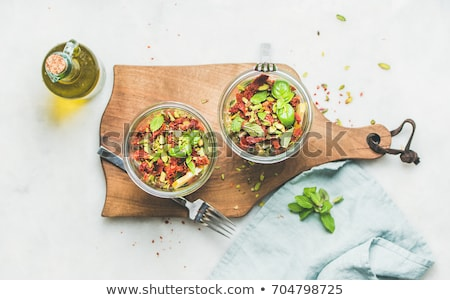 saludable · ensalada · tazón · frijoles · frescos · tomates - foto stock © YuliyaGontar