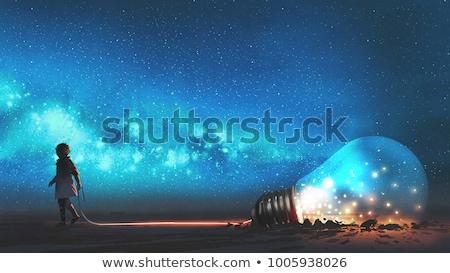 rangée · ampoules · bleu · lumière · technologie · énergie - photo stock © is2