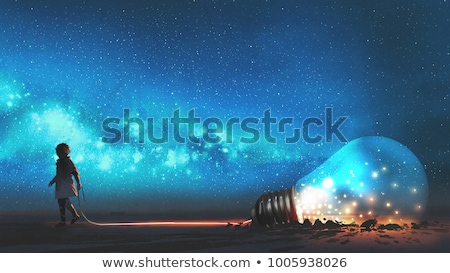 rij · Blauw · licht · technologie · energie - stockfoto © is2