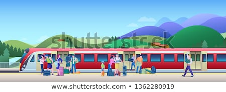 vrouw · treinstation · asian · permanente · trein · Open - stockfoto © rastudio