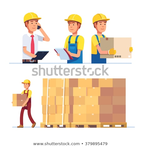 Warehouse stand with delivery boxes icon stock photo © studioworkstock