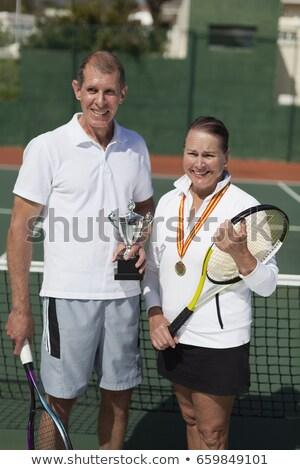 actieve · senioren · tennisbaan · portret · actief · samen - stockfoto © is2