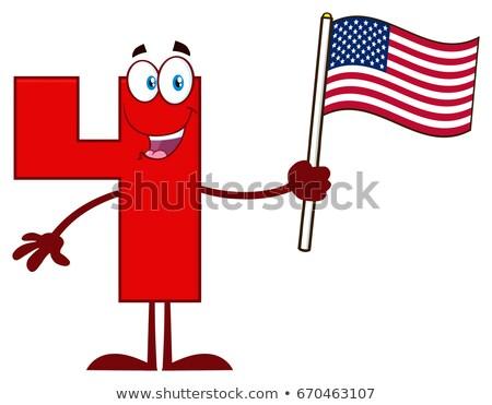 Sorridente vermelho número quatro mascote Foto stock © hittoon