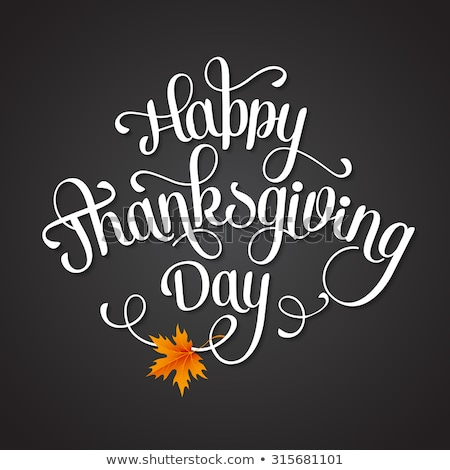 Hand lettering Thank You black paper background. Calligraphy for Thanksgiving Day. Vector Illustrati Stock photo © FoxysGraphic