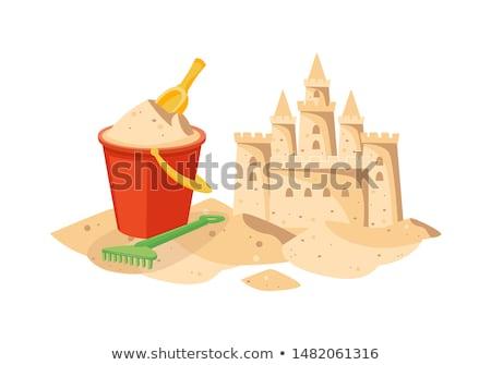 icono · playa · castillo · de · arena · vector · aislado · blanco - foto stock © maryvalery