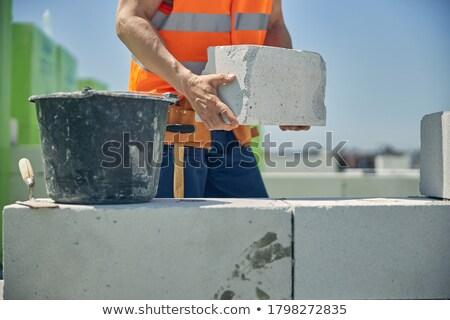 Budowniczy cegły kamieniarstwo środkowy pop art retro Zdjęcia stock © studiostoks