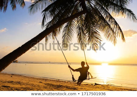 スイング 熱帯ビーチ ビーチ ツリー 日没 風景 ストックフォト © boggy