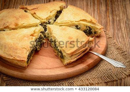 Házi készítésű görög spenót pite szeletek ízletes Stock fotó © mpessaris
