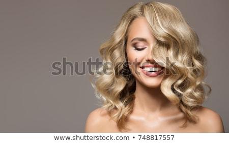 gekruld · blond · vrouw · zwarte · broek · witte · blouse · poseren - stockfoto © acidgrey