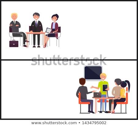 csapatmunka · asztal · kép · üzlet · zöld · kék - stock fotó © robuart