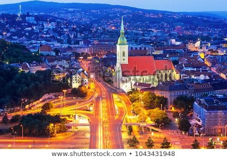 Bratislava · noite · Eslováquia · nuvens · edifício · pôr · do · sol - foto stock © phbcz